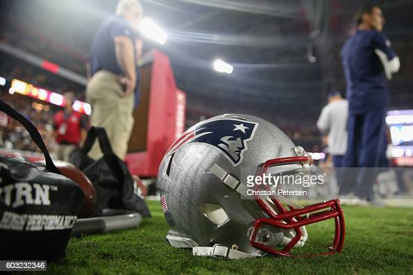 Detail of the New England Patriots helmet on the sidelines during the NFL game against the Arizona Cardinals at the University of Phoenix Stadium on...