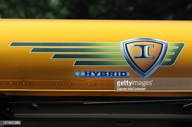 A detail of the new hybrid bus is seen May 5 2010 at South Shore Charter Public School in Norwell Massachusetts