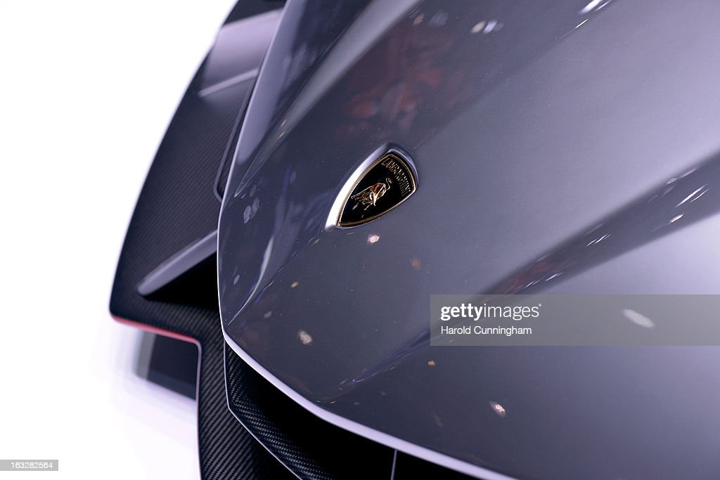 A detail of the new Lamborghini Venenos is seen during the 83rd Geneva Motor Show on March 6, 2013 in Geneva, Switzerland. Held annually with more than 130 product premiers from the auto industry unveiled this year, the Geneva Motor Show is one of the world's five most important auto shows.
