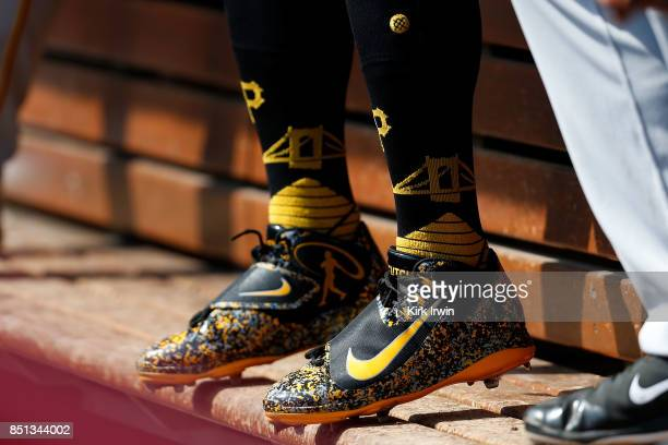 A detail of the Nike baseball cleats worn by Andrew McCutchen of the Pittsburgh Pirates during the game against the Cincinnati Reds at Great American...