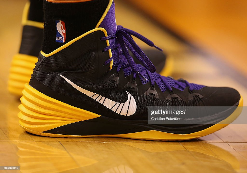Detail of the Nike shoes worn by Pau Gasol of the Los Angeles Lakers during the NBA game against the Phoenix Suns at US Airways Center on January 15...