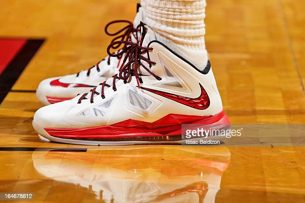 A detail of the Nike sneakers worn by LeBron James of the Miami Heat during a game against the Atlanta Hawks on March 12 2013 at American Airlines...