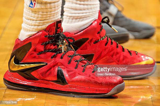 A detail of the Nike sneakers worn by LeBron James of the Miami Heat while playing the San Antonio Spurs during Game One of the 2013 NBA Finals on...