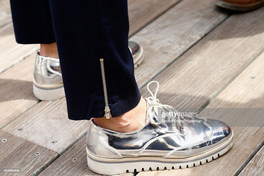A detail of the <a gi-track='captionPersonalityLinkClicked' href=/galleries/search?phrase=Nolwenn+Leroy&family=editorial&specificpeople=4343653 ng-click='$event.stopPropagation()'>Nolwenn Leroy</a> shoes pictured during the French Tennis Open Day 6 at Roland Garros on May 27, 2016 in Paris, France.