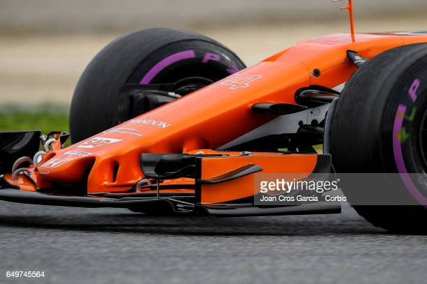 A detail of the nose of Fernando Alonso McLaren car during the Formula One preseason tests on May 8 2017 in Barcelona Spain