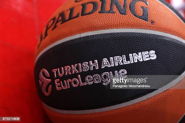 Detail of the official ball of the game before the 2017/2018 Turkish Airlines EuroLeague Regular Season Round 8 game between Olympiacos Piraeus and...