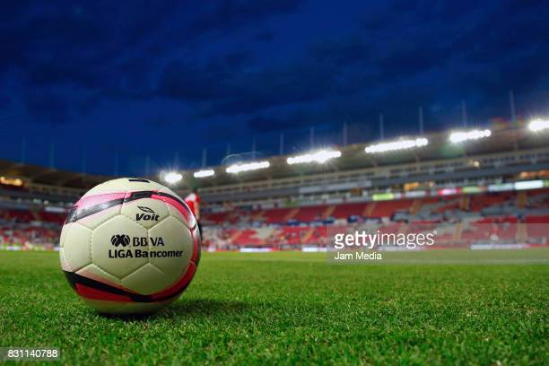 Detail of the official ball prior to the 4th round match between Necaxa and Leon as part of the Torneo Apertura 2017 Liga MX at Victoria Stadium on...