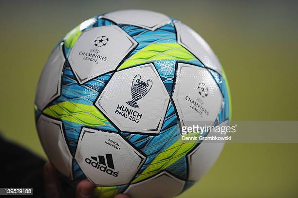 A detail of the official matchball with the 'Munich 2012' logo is pictured prior to the UEFA Champions League round of sixteen first leg match...