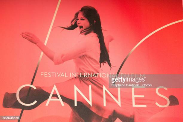Detail of the Official Poster of the 70th edition of the Cannes Film Festival is seen during the Cannes Film Festival Press Conference on April 13...