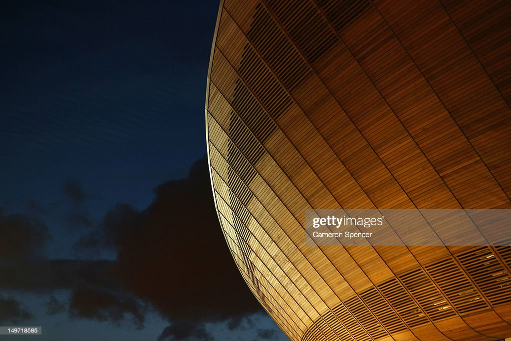 Detail of the Olympic Velodrome at dusk at Olympic Park on August 2, 2012 in London, England.