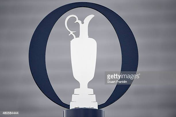 Detail of The Open logo ahead of the 144th Open Championship at The Old Course on July 13 2015 in St Andrews Scotland