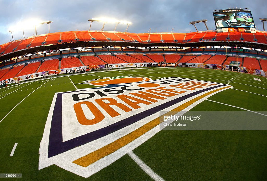 A detail of the Orange Bowl logo on the field prior to Florida State Seminoles playing against the Northern Illinois Huskies during the Discover Orange Bowl at Sun Life Stadium on January 1, 2013 in Miami Gardens, Florida.