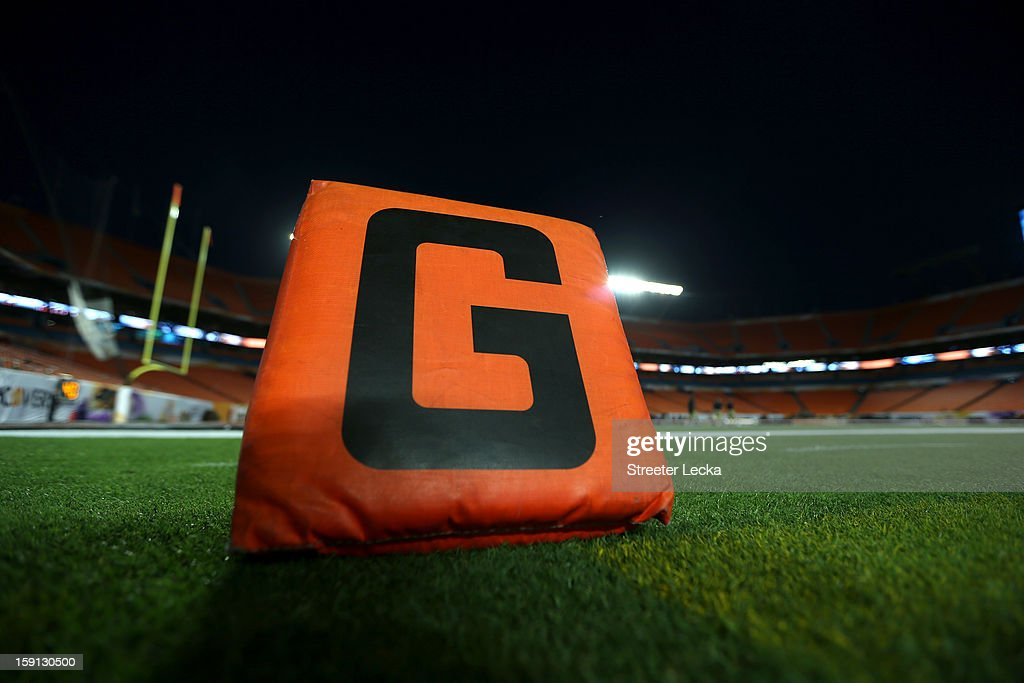 A detail of the orange goal marker in the endzone as the Florida State Seminoles play the Northern Illinois Huskies during the Discover Orange Bowl at Sun Life Stadium on January 1, 2013 in Miami Gardens, Florida.