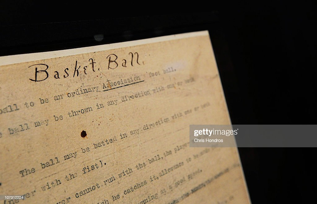 A detail of the orginal 1891 copy of the rules of 'Basket Ball' are seen at Sotheby's auction house December 3, 2010 in New York City. Basketball was invented by American teacher James Naismith in 1891 and was an immediate success, and today is played by hundreds of millions of people around the world. The two-page document will go on auction December 10 and is expected to bring $2 million.