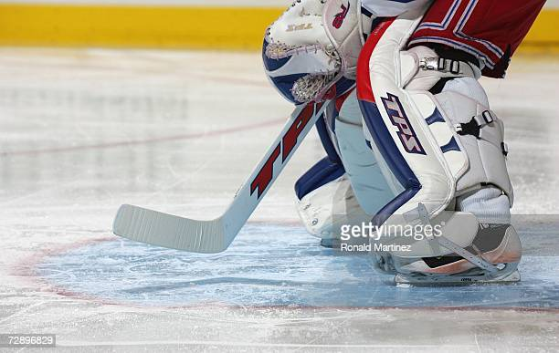 A detail of the pads of Henrik Lundqvist of the New York Rangers is shown against the Dallas Stars at American Airlines Center on December 14 2006 in...