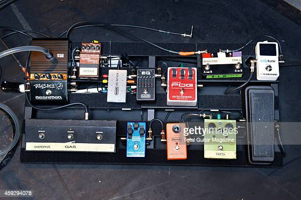 Detail of the pedalboard belonging to musician Ben Wells guitarist with American rock group Black Stone Cherry taken on February 28 2014