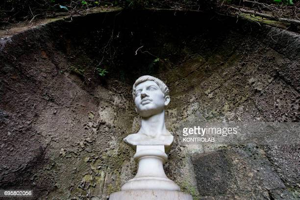 A detail of the Publio Virgilio Marone and Giacomo Leopardi tombs in the Virgiliano park on Piedigrotta downtown Naples