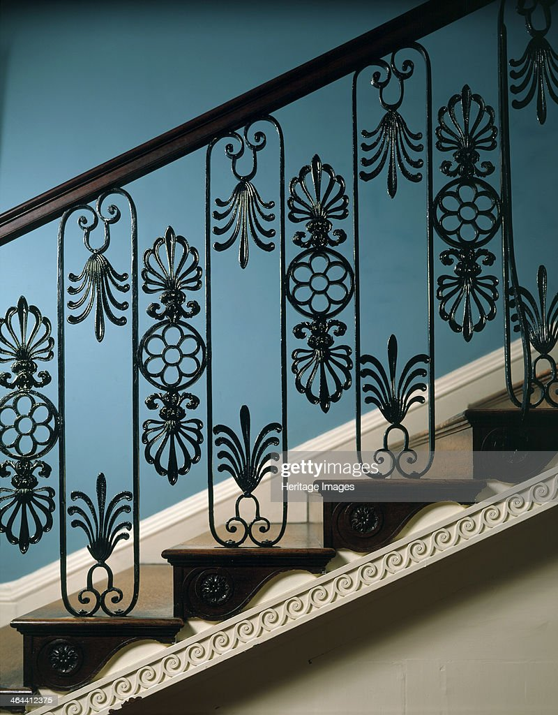 Detail of the railings on the main staircase at Kenwood House, Hampstead, London, 1989. The staircase was designed by Robert Adam, who used the pattern on the metal balustrade in a number of other houses.