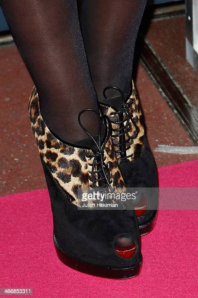 A detail of the Reem Kherici shoes pictured during the 'Trophees Du Film Francais' 21th Ceremony at Palais Brongniart on February 4 2014 in Paris...