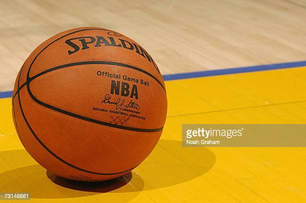 Detail of the reinstated leather official NBA ball which replaces the microfiber synthetic version during the NBA game between the Dallas Mavericks...