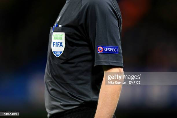 Detail of the Respect logo on the shirt of the Assistant Referee