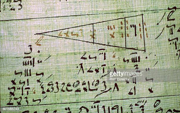 Detail of the Rhind mathematical papyrus showing mathematical problems from Thebes Egypt End of the Second Intermediate Period c1550 BC The text...