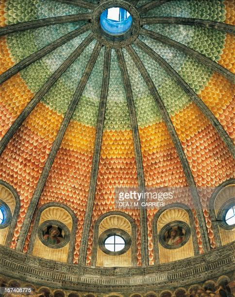 Detail of the ribbing on the interior of the dome of the Portinari Chapel Basilica of Sant'Eustorgio Milan Italy 15th century