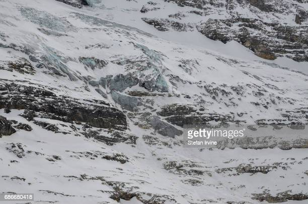 Detail of the rocks and glaciers below the Monch and Jungfrau mountains