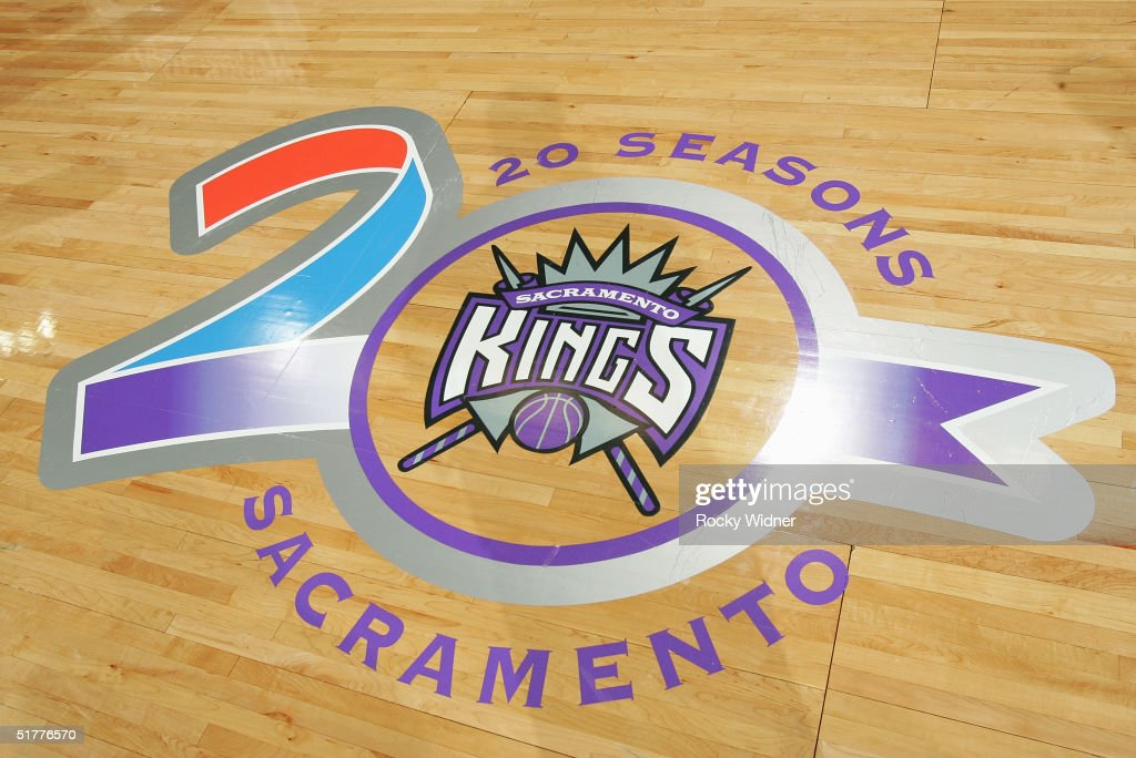 Detail of the Sacramento Kings logo during the game against the Toronto Raptors at Arco Arena on November 9 2004 in Sacramento California The Kings...
