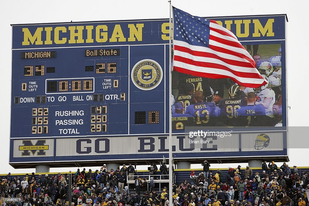Detail of the scoreboard displaying the final score at the NCAA football game between the Ball State Cardinals and the Michigan Wolverines on November 4, 2006 at Michigan Stadium in Ann Arbor, Michigan. Michigan won 34-26.