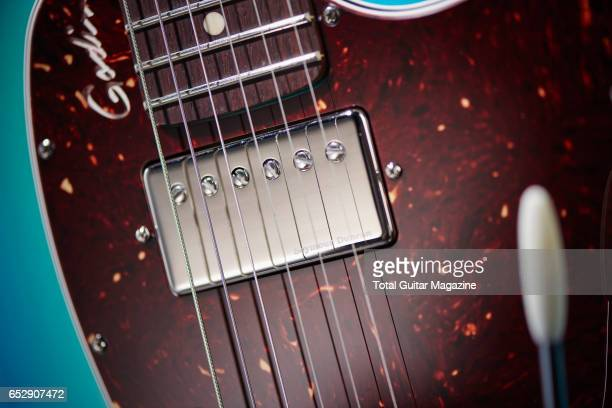 Detail of the Seymour Duncan 59 humbucker on a Godin Session Custom '59 electric guitar taken on April 27 2016