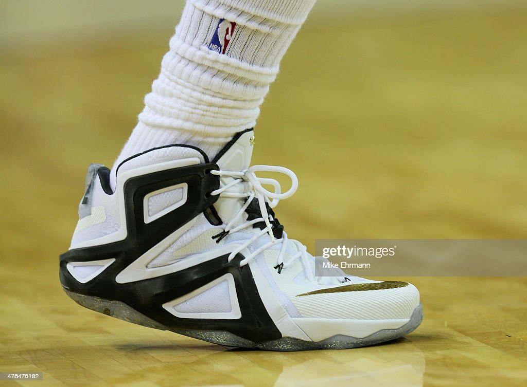 A detail of the shoe of LeBron James of the Cleveland Cavaliers during Game Three of the 2015 NBA Finals against the Golden State Warriors at Quicken...