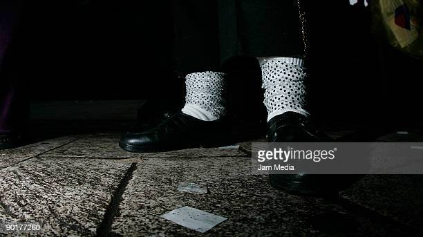 Detail of the shoes of a Michael Jackson's fan during an attempt to break the Guinness World Record for the biggest mass 'Thriller' dance as a...