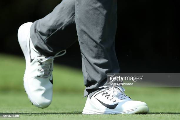 A detail of the shoes of Brooks Koepka of the United States during the second round of the TOUR Championship at East Lake Golf Club on September 22...