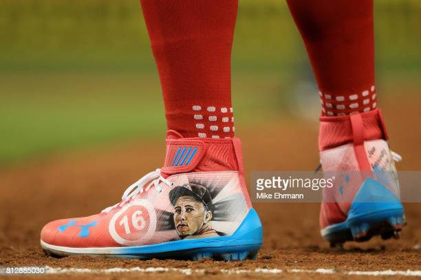 A detail of the shoes of Bryce Harper of the Washington Nationals and the National League during the 88th MLB AllStar Game at Marlins Park on July 11...