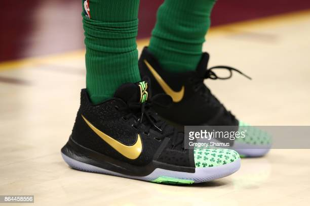 Detail of the shoes of Kyrie Irving of the Boston Celtics while playing the Cleveland Cavaliers at Quicken Loans Arena on October 17 2017 in...