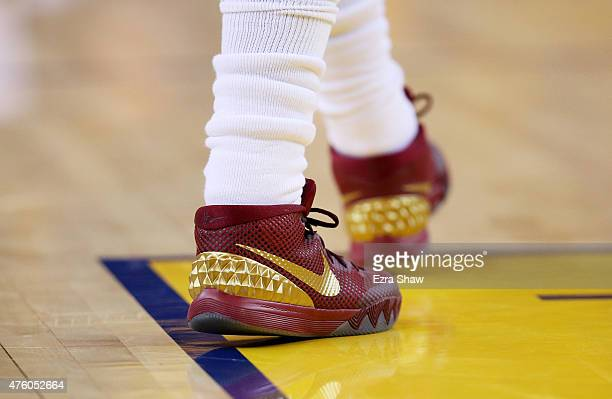 A detail of the shoes of Kyrie Irving of the Cleveland Cavaliers during Game One of the 2015 NBA Finals against the Golden State Warriors at ORACLE...