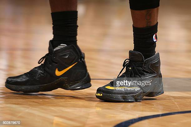 Detail of the shoes of LeBron James of the Cleveland Cavaliers as he takes the court against the Denver Nuggets at Pepsi Center on December 29 2015...