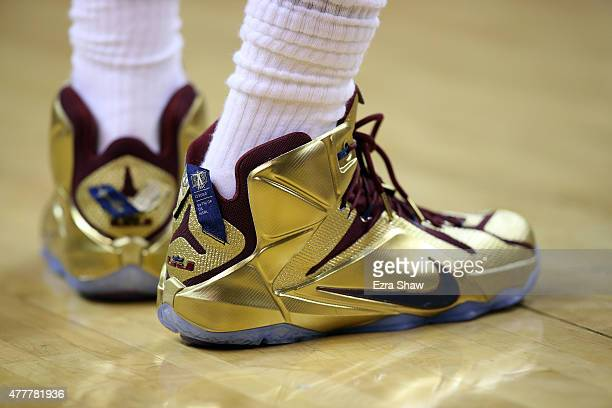 A detail of the shoes of LeBron James of the Cleveland Cavaliers during Game Six of the 2015 NBA Finals at Quicken Loans Arena on June 16 2015 in...