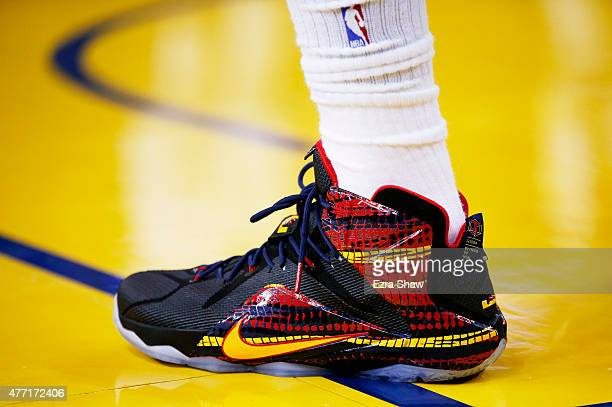 A detail of the shoes of LeBron James of the Cleveland Cavaliers in the first quarter against the Golden State Warriors during Game Five of the 2015...