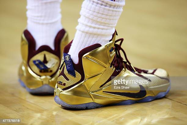 A detail of the shoes of LeBron James of the Cleveland Cavaliers in the third quarter during Game Six of the 2015 NBA Finals against the Golden State...