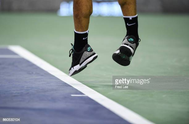 A detail of the shoes of Roger Federer of Switzerland as he plays against Alexandr Dolgopolov of Ukraine the Men's singles match on day 5 of 2017 ATP...