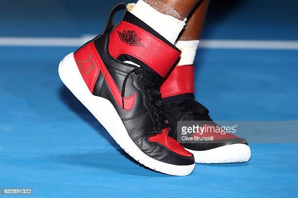 Detail of the shoes of Serena Williams of the United States after winning the Women's Singles Final against Venus Williams of the United States on...