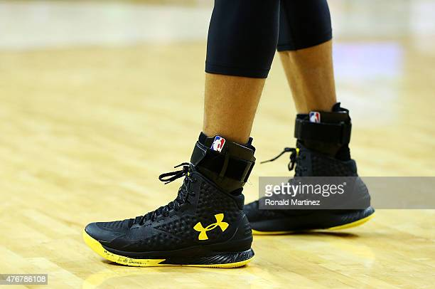 A detail of the shoes of Stephen Curry of the Golden State Warriors during Game Four of the 2015 NBA Finals against the Cleveland Cavaliers at...