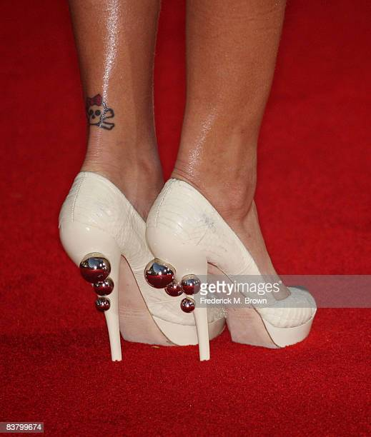 A detail of the shoes worn by singer Rihanna at the 2008 American Music Awards held at Nokia Theatre LA LIVE on November 23 2008 in Los Angeles...