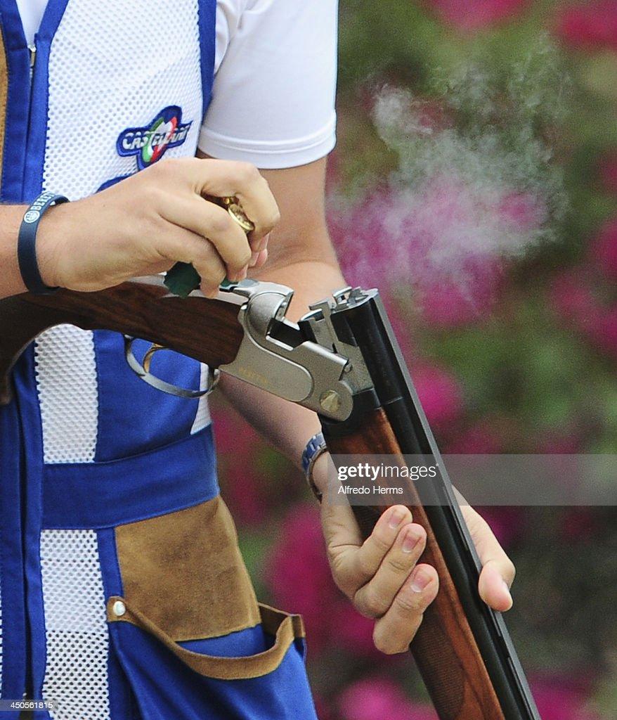 Detail of the shotgun of Victor Manuel Silva of Venezuela during Men's Skeet Shooting Qualifiers event as part of the XVII Bolivarian Games Trujillo 2013 at Poligono Jose Quiñones on November 19, 2013 in Lima, Peru.
