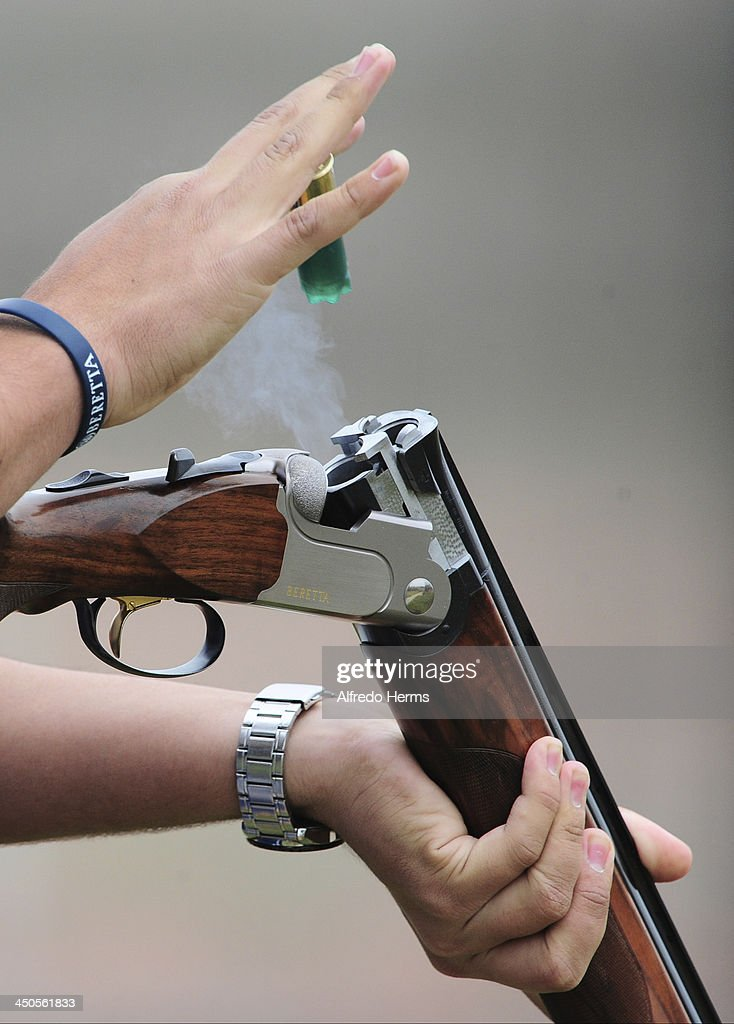 Detail of the shotgun of Victor Manuel Silva of Venezuela during Men's Skeet Shooting Qualifiers event as part of the XVII Bolivarian Games Trujillo 2013 at Poligono Jose Quiñones on November 19, 2013 in Lima, Peru.