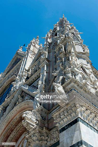 Detail of the Siena Cathedral di Santa Maria better known as the Duomo is a medieval marble church in Siena Tuscany Italy of Gothic art from the 13th...