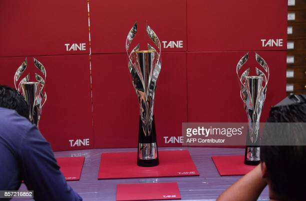 Detail of the silver trophies for the Formula 1 winner second placed end third placed during their presentation by the manufacturer's house in Mexico...