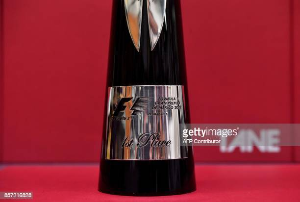 Detail of the silver trophy for the Formula 1 winner during its presentation by the manufacturer's house in Mexico City on October 3 2017 Casa Tane a...